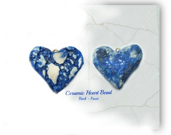 heart bead,blue heart , Heart bead for necklaces, necklace bead supply,clay heart bead,   # 124