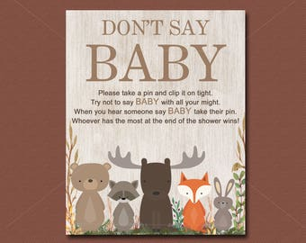 Woodland Baby Shower Game, Dont Say Baby Game, Printable Forest Animals Watercolor Baby Shower Diaper Pin Game Sign  INSTANT DOWNLOAD  016