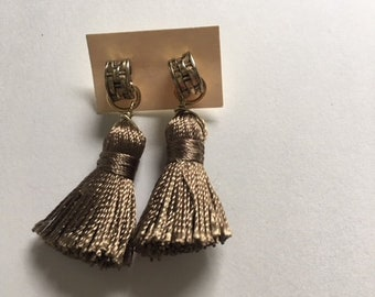 Vintage Brass Post Tassel Earrings