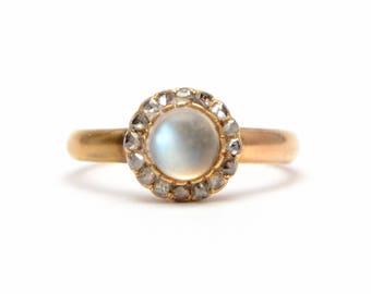 14k Victorian Moonstone Diamond Ring