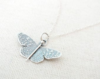 Sterling Silver Butterfly Pendant, Detailed Butterfly Necklace, Etched Butterfly Necklace, Statement Necklace