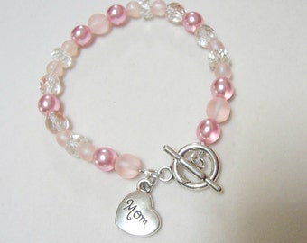 "Pink Czech bead ""Mom"" bracelet"