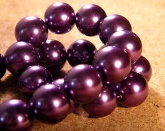 20 glass Pearl iridescent 12 mm - purple PE195 9 beads
