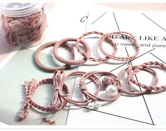 Set of 9 /Ponytail Holder /Handmade Hair Elastic/ Hair Tie/ Blossom Pink Pearl/Hair Accessories/Women Girls