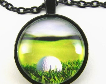 FAIRWAY and GREEN Necklace -- Golf ball on the fairway overlooking a broad green, Golf art, Gift for man or woman golfer