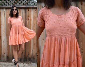 Vintage 90s PEACH Spring Summer MINI Dress M