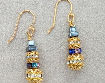 Snowman Earrings/Christmas Earrings/Rhinestone Gold Earrings/Holiday Earrings