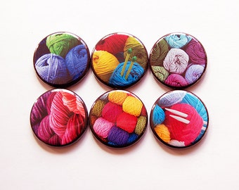 Knitting Magnets, Button magnets, Yarn Magnets, Kitchen Magnets, Fridge Magnet, gift for mom, bright colors, gift for knitter (5464)