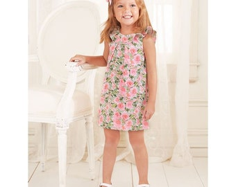 Floral faille dress by Mud Pie, monogrammed girls dress, girls  dress, summer dress, baby girl beach dress,ruffle sleeves