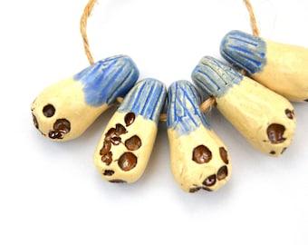 5 Nautical Beads, Handmade Ceramic Beads, Blue / White / Metallic Brown Beads, Textured Beads, Jewelry Supplies, Rustic Beads