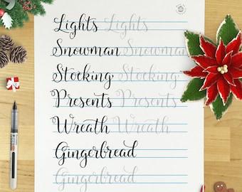 December 2016 Practice Sheets for Happy Lettering Challenge
