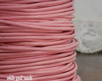 10 yards Pink  2mm Leather Cord Jewelry Supply dyed leather