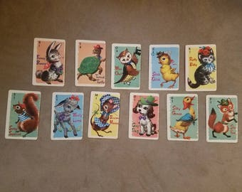 Vintage Animal Rummy Cards Whitman Incomplete Set of 11