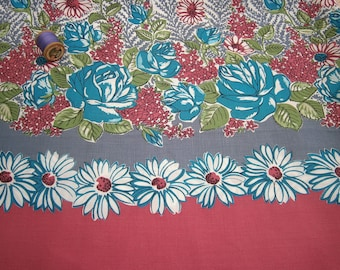 "Vintage 1950s Cotton Pink White Turquoise & Green Rose and Daisy Border Print floral length fabric 36"" x 45"""