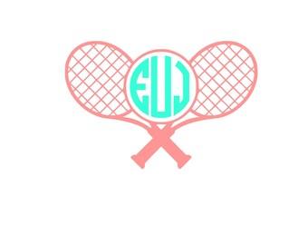 Tennis Racquet Personalized Monogram Sticker Vinyl Decal