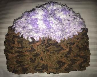 Ultra Soft Multi Color Beanie Winter Hat - Brown/Purple