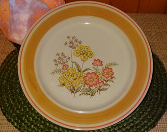 """Set of 4 Newcor """"Daydream"""" Stoneware Dinner Plates / Stoneware Plates / Newcor / Floral Plates / Floral Dinner Plates"""