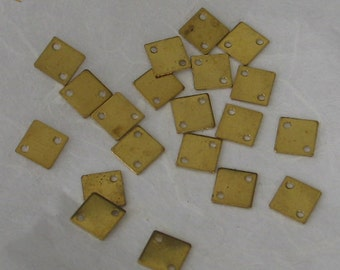 Tiny Raw Brass 2 Hole Square Tags 20 pieces