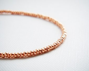 Rose gold tiny beaded bracelet, friendship bracelet, seed bead bracelet