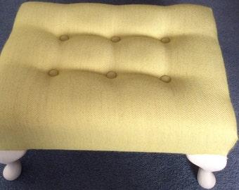 Lime green handmade footstool