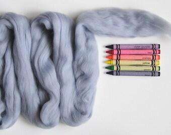 MERINO WOOL ROVING / Steel Gray 1 ounce / merino wool for wet felting, nuno felting, spinning, weaving, wool dreads, tapestries, felt fiber