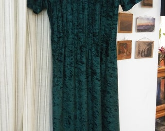 Vintage Crushed Velvet Green Dress