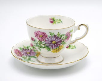 Vintage Tea Cups And Saucer, Tuscan Fine English Bone China, Birthday Flowers Series September's Aster, Tea Cups