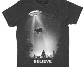 UFO Shirt - Mens Alien T-Shirt - Alien Shirt - Mens UFO T-SHirt - I Believe Shirt Hand Screen Printed on a Mens Shirt