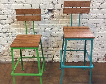 Bar stools, Steel and wood, Bar stool with Back, Kitchen Stool - Counter Height Stool