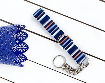 Navy Male Dog Collar - Male Dog Collar - Martingale Chain Collar - Dog Collar - Check Chain Collar - Metal buckle - Easter