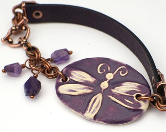 Purple dragonfly bracelet, ceramic leather copper, purple amethyst beads, 7 3/4 inches long