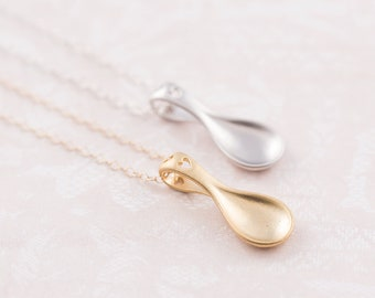Love spoon necklace, gold filled or sterling silver chain, gift for her, anniversary gift, heart necklace. gift for wife, minimalist jewelry