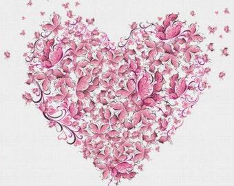 Heart of Butterflies PDF Cross Stitch Pattern