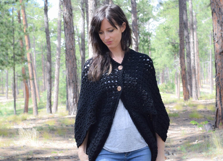 Crocheted Cacoon Pattern, Women\'s Crochet Poncho, Black Crochet ...