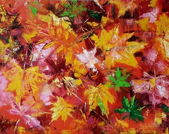 "52″ x 28″ ""Leaf Fall"" Oil Painting Original Art Modern Art Painting on Canvas. Abstract Wall Art"