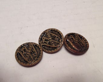 3 Vintage Shank Gold Tone Shield Embossed Buttons