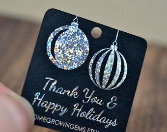 Glitter Metallic Silver Ornaments Christmas Winter Thank You Tags  - Customized - Gift Tags - Shinny Metallic
