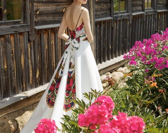 Folk wedding dress folk wedding gown ethnic wedding dress ethnic wedding gown hippie wedding dress boho wedding dress rustic wedding gown