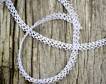 Handmade Bobbin Lace, Baby Lace Edging for Scrapbooking, Lace for Weddings, Custom Lace by the Inch, White Baby Lace Authentic Handmade Lace