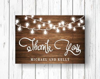 Thank You card, Thank You, Wooden, bulbs