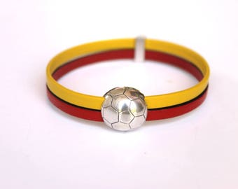 Bracelet leather red and yellow football silver plated pewter toggle clasp
