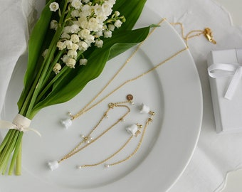 Lilly of the valley, necklace ear thread bracelet Ceramic floral pendant Muguet Maiglöcken Porcelain jewellery Birthday gift-boohua