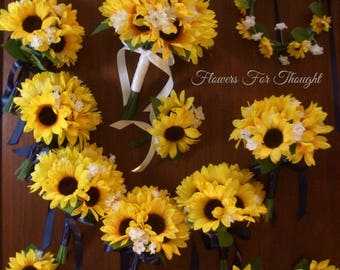 Large Sunflower Wedding Package, Yellow Blue, Rustic Woodland Bouquets, Shabby Chic, Made to Order