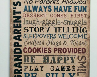 Wood sign Grandparents House Rules grandma gift, Nana Mimi Nonnie Papa Primitive signs, Tan Rustic plaque, wall hanging, Grandparent gift