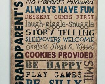 Wood sign Grandparents House Rules grandma gift, Nana Mimi Nonnie Papa Primitive signs, Tan Rustic plaque, wall hanging, Grandparent gift