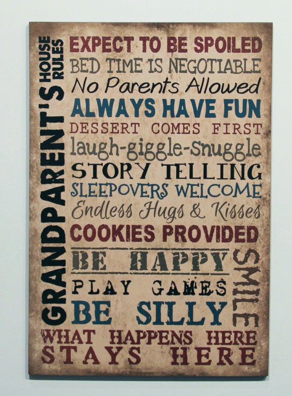 Wood Sign Grandparents House Rules Grandma Gift Nana Mimi