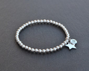 Personalised Sterling Silver Letter and Star Charm Bracelet