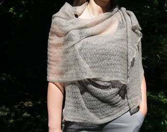 Mohair scarf, shawl, Long, Soft, Light gray, Cozy, Luxurious, Classic design, Worm, Elegant, Mohair knit, Mohair, Gift for her