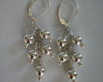 Sterling Silver Cluster Earrings--All Sterling Silver