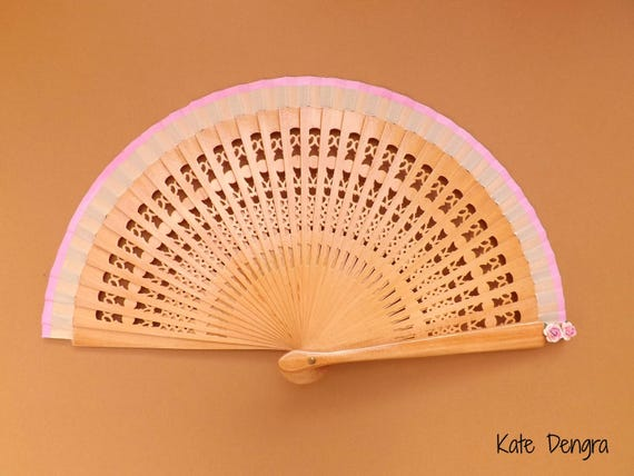 Natural Pink Bridesmaid SIZE OPTIONS Wood and Fabric Hand Fan with Mulberry Paper Flowers and Matching Border Color MTO Girls by Kate Dengra